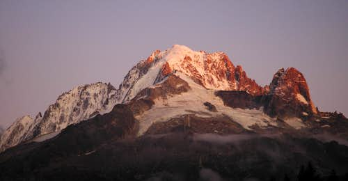Aiguille Verte at sunset