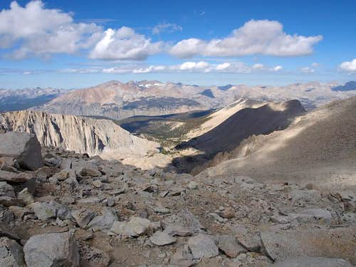 view east from near the summit of Whitney