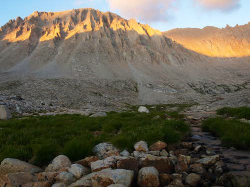 alpenglow on Whitney at the Guitar Lake outlet