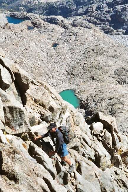 Climbing east arete of Mt....