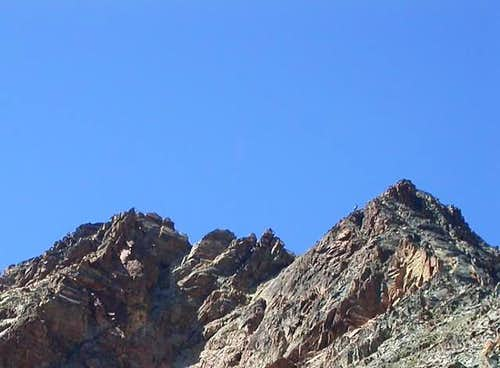 <FONT COLOR=GREEN><B> Laures\'s Point</font> from <font color=purple>Laures\'s Pass</font>: <font color=blue> S E\'peron, SE Face, E Crest, N-NE Face</font> and </font> <font color=blue>NW Ridge</b></font>