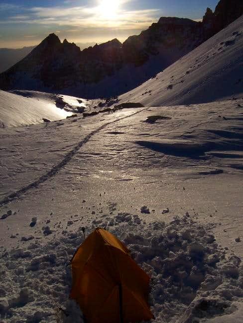 Camping below Iceberg Lake,...
