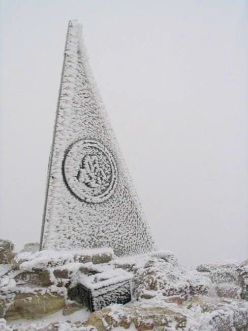 Frosty summit marker and...
