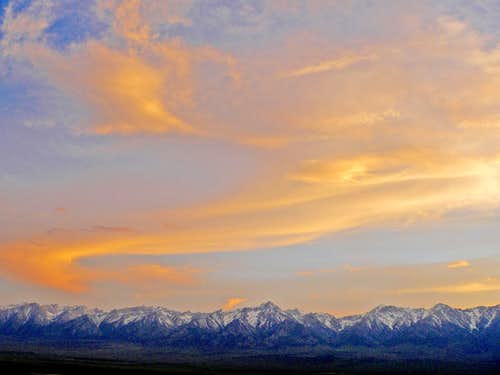 Sunset over the High Sierra from Owens Valley east of Independence