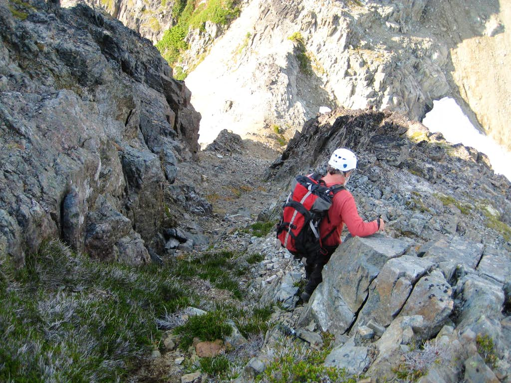 Descending the West Gully