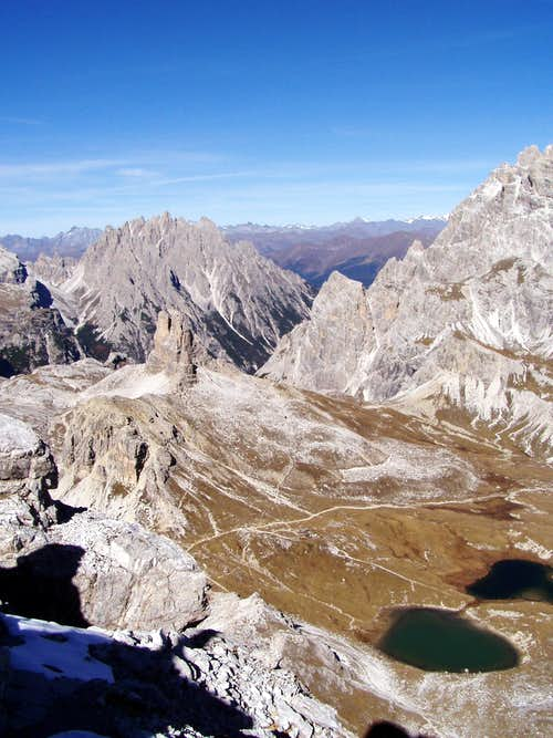 From the summit of Monte Paterno to the Torre di Toblin
