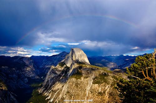 Half Dome framed with rainbow