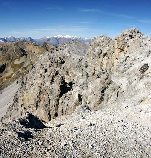 Looking across the Piz Umbrail south face