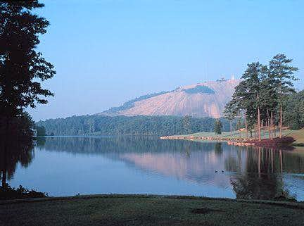 Stone Mountain beyond lake.