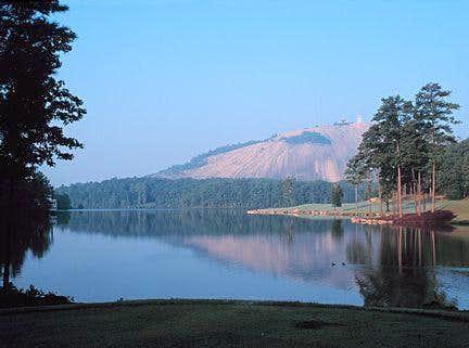 Stone Mountain beyond lake.