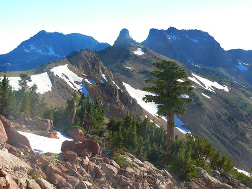 Brokeoff Mtn., Pilot Pinnacle  and Mt. Diller from the Tehama Ridge