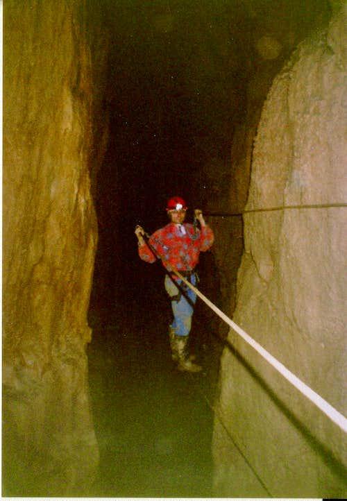 Vietnamese brigde in the István-lápai cave-Hungary