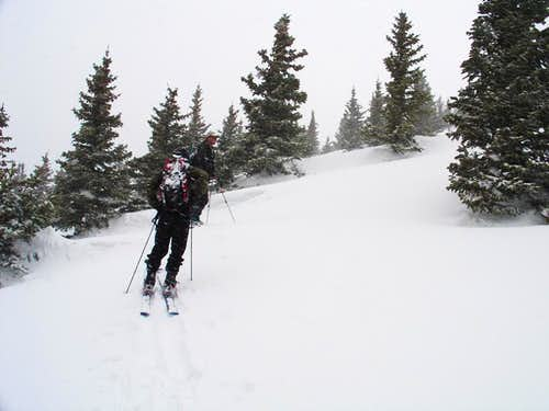 Skinning the south slope of Santa Fe Baldy