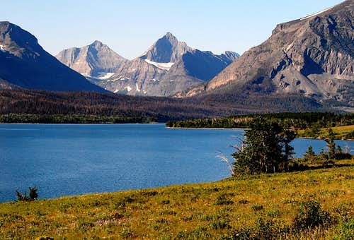RED EAGLE MOUNTAIN & SPLIT MOUNTAIN OVER ST. MARY'S LAKE-GLACIER NP-MT