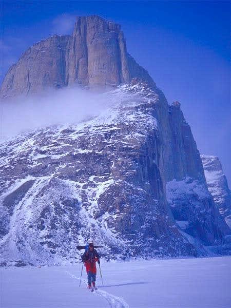 Skiing past Polar Sun Spire....
