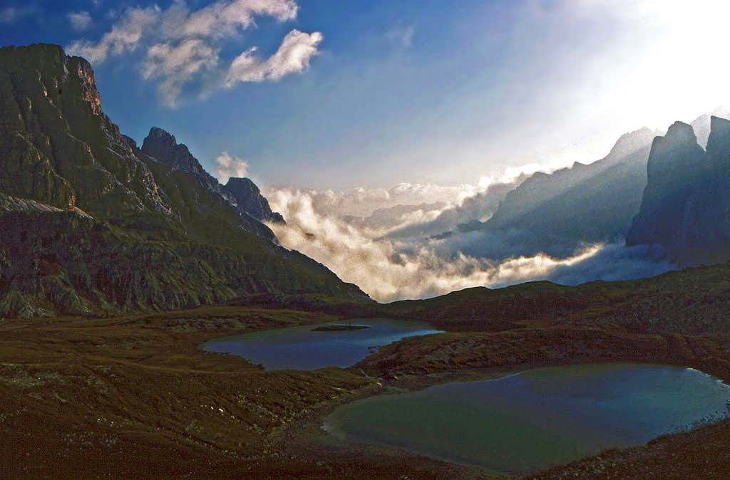 Dolomites landscape near Rif. Locatelli / Dreizinnen Huette. Summer, 1980.