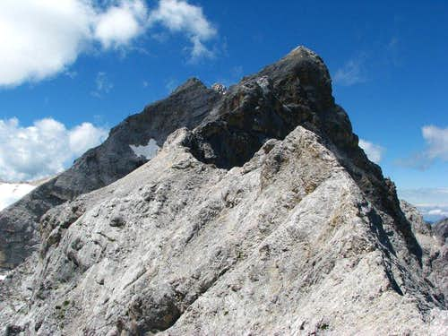 You are looking in at Zugspitze from col in front of the most western peak of Hollental Spitzen