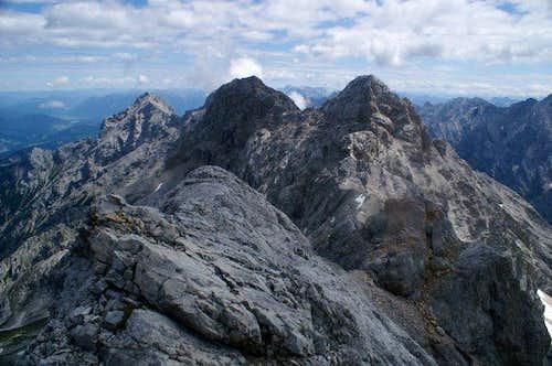 View from Mittlere Hollental Spitze to Aussere, Hochblassen and Alpspitze.