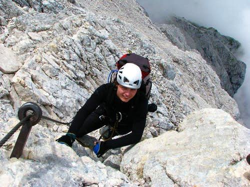 Foster is climbing to Alpspitze