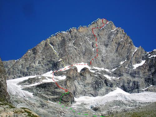 Ober Gabelhorn South Face - route overview