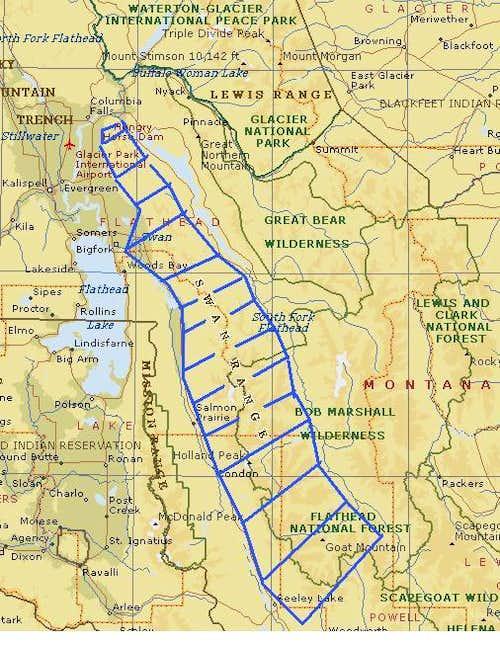 Mountain Ranges In Montana Map.Swan Range Mt Climbing Hiking Mountaineering Summitpost
