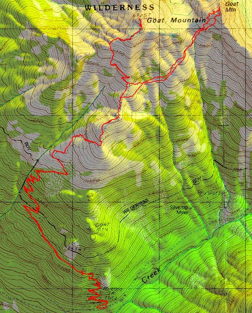 Topo Map of route to west and east goat mnt