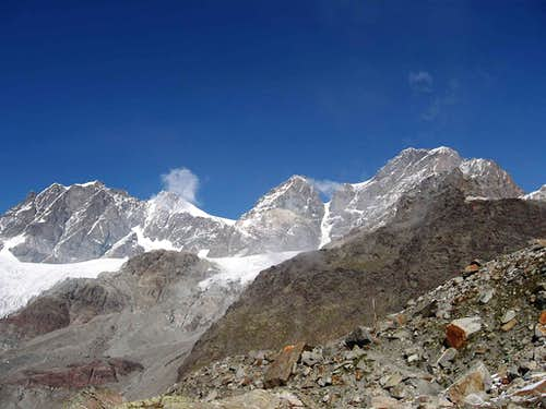 Piz Roseg, Piz Bernina and Piz d'Argent.