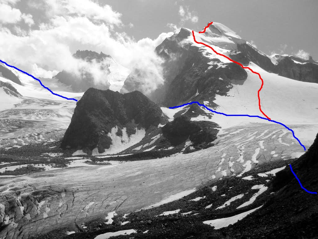 Strahlhorn Normal Route and Allalinhorn Hohlaubgrat Topo