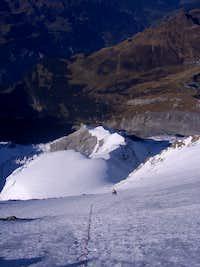 Climbing the summit ice field