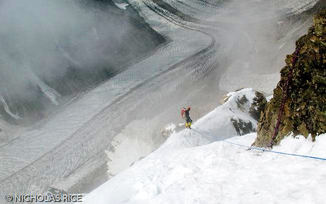 Climber Descending From Camp III to Camp II on the South-southeast Spur