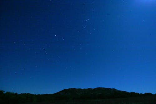 Orion and a Big Dog over Elk Mountain