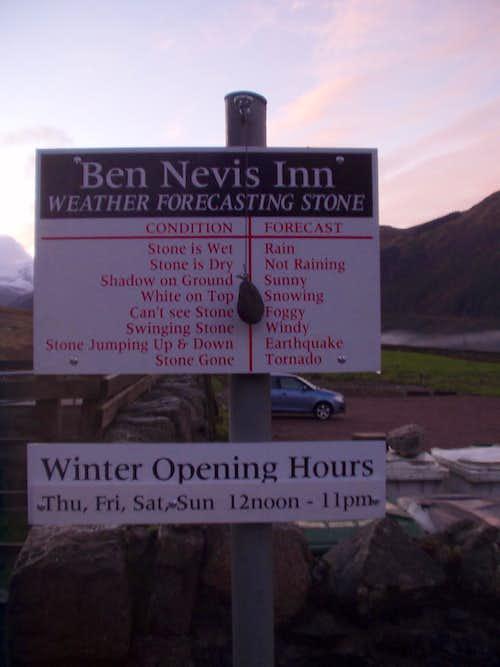 Ben Nevis Inn WX forecast