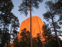 Devils Tower with sun set Oct 18th