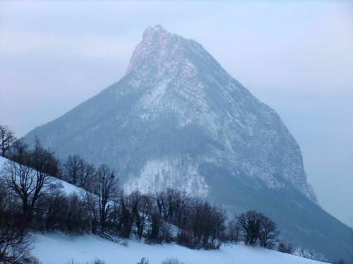 The Chamechaude, Chartreuse's highest top, from Proveysieux