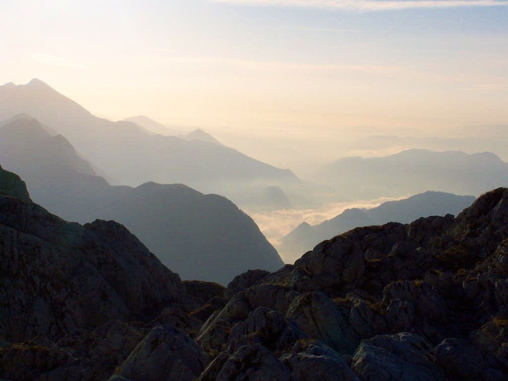 View from the Med Babam saddle towards the Soča valley