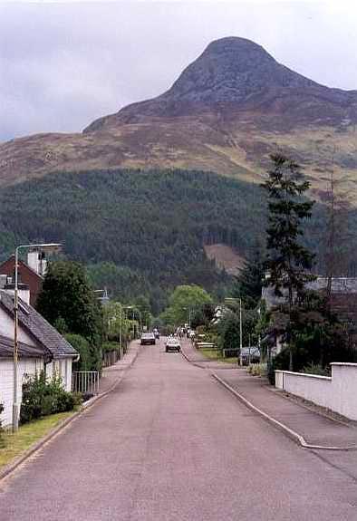 Glencoe village, looking to the Pap of Glencoe