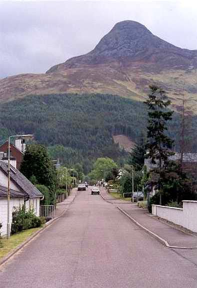 Glencoe village, looking to the Pap of Glencoe