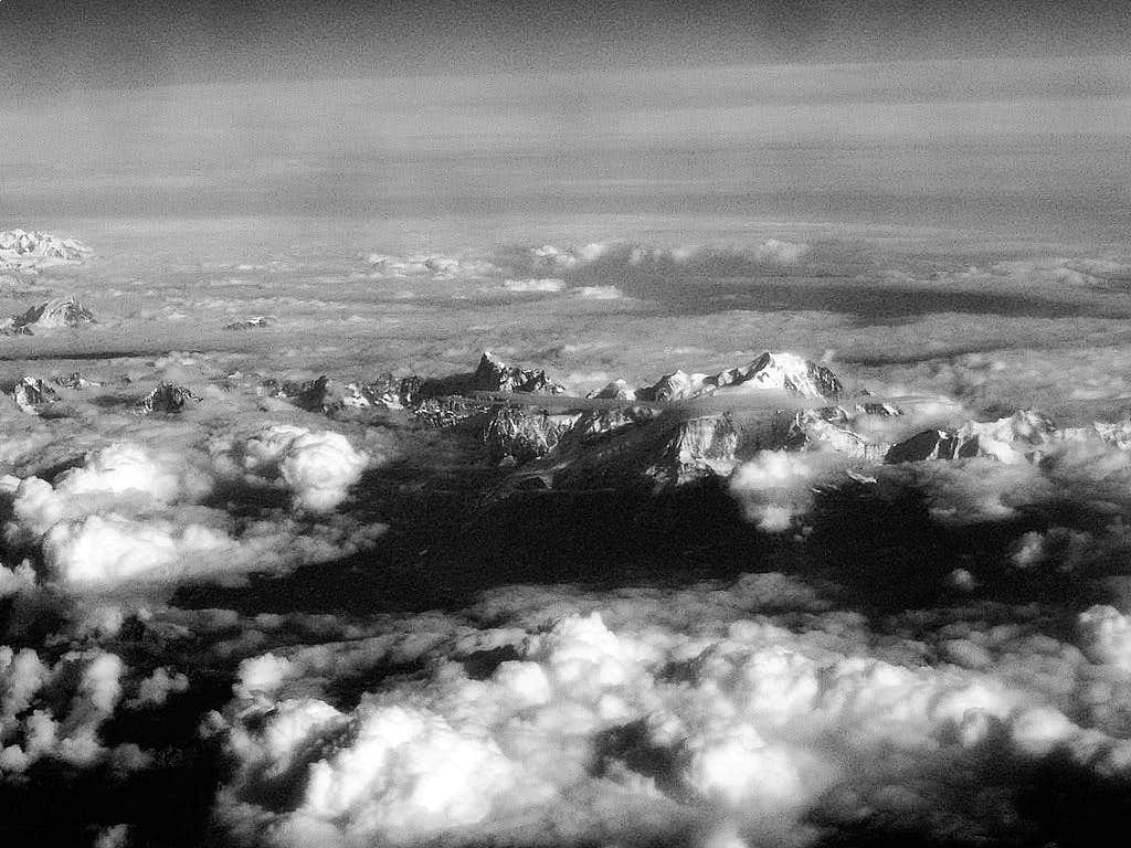 Mont Blanc massive from the air