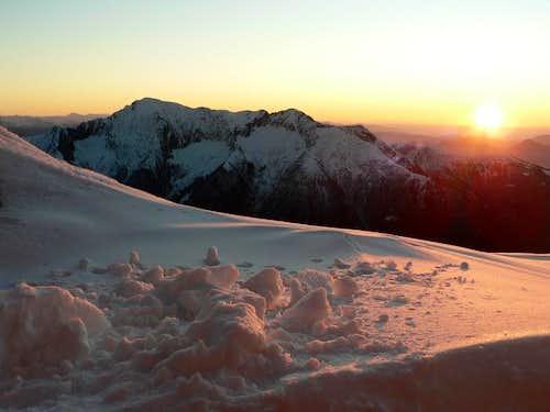 View at sunrise from Bocchetta di Campo