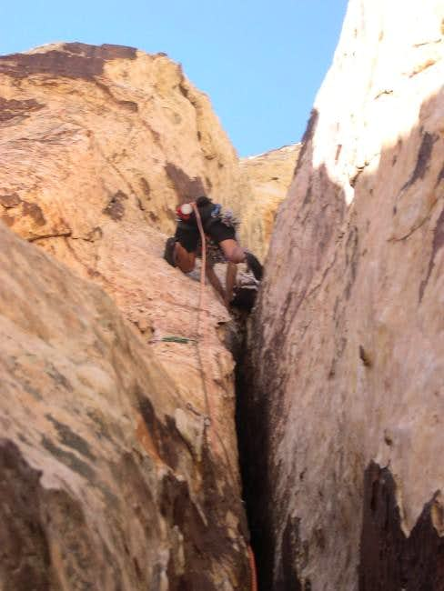 Entering the lieback crux of...