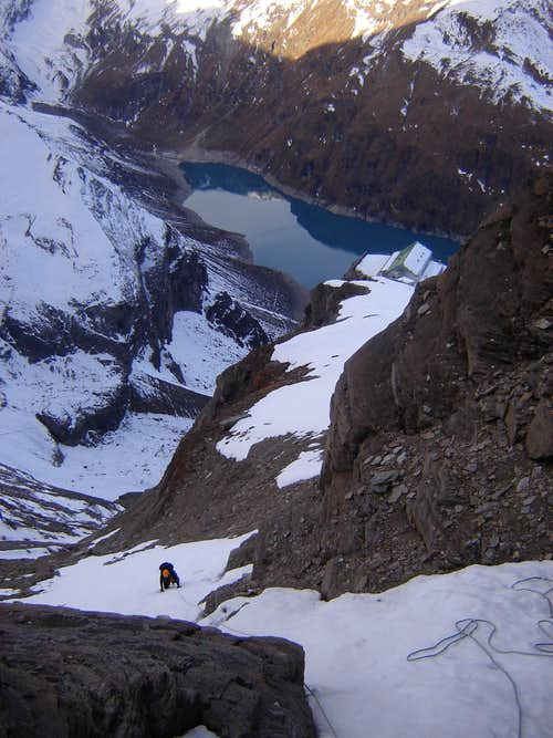 Climbing steep couloir