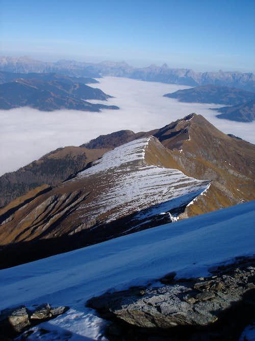 View from Kempsenkogel 3090m for Jagerscharte