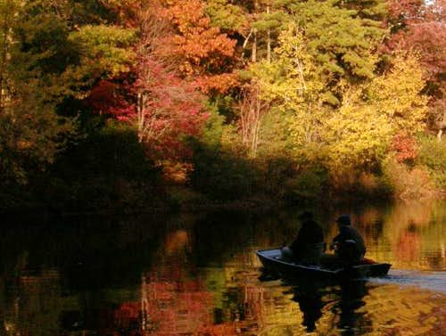 Canoe and Fall Colors Walden Pond