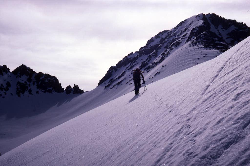 Ascending firm snow, West Ridge of Windom Peak