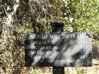 Distances on Mt. Wilson Trail
