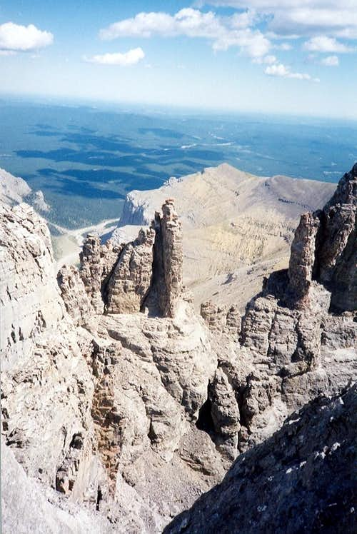 Pinnacles in saddle of West Ridge.