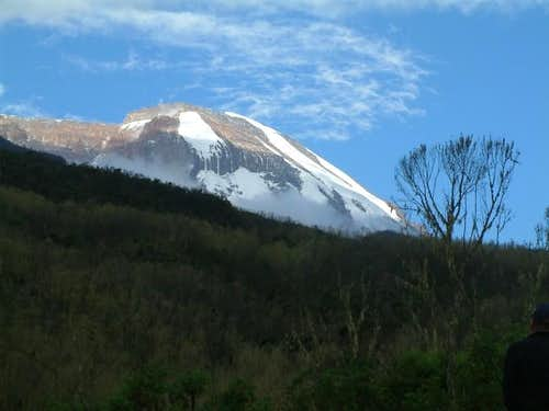 A closer view of Kili in...
