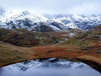 Snowy hills reflected in Llyn Teyrn