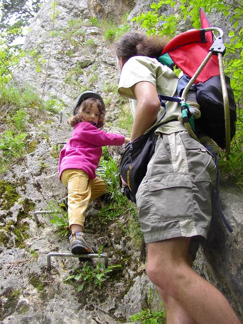 My daughter\'s first via ferrata experience
