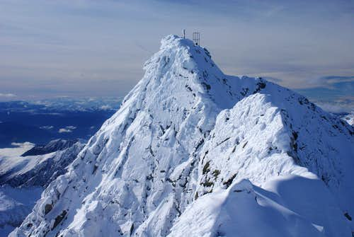 Summit ridge and well secured route.